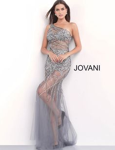 4c3e27db20c Jovani 55567 Floor length form fitting gunmetal sheer beaded prom dress  features sleeveless bodice with bra cups and one shoulder asymmetrical neck.
