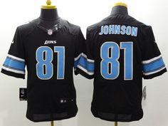 4617a8ea5 Nike Lions  81 Calvin Johnson Black Alternate Men s Stitched NFL Elite  Jersey Aqib Talib