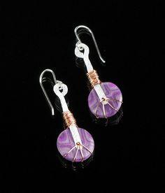Tribal Dangle Earring - Drop Earrings - Polymer Clay Jewelry - Mixed Metal Jewelry - Art Jewelry - Clay Earrings - Silver Jewelry