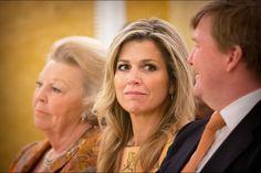 Maxima, Beatrix et Willem-Alexander des Pays-Bas au palais Noordeinde à La Haye, le 21 mai 2015