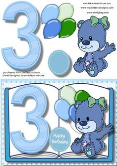 3rd Birthday Book Card on Craftsuprint - Add To Basket!