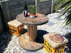 Recycled timber  electrical cable drum with milk crate seats great for small outdoor entertaining areas                                                                                                                                                                                 More