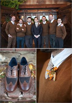 Groomsmen in brown sweaters and boutonnieres. Photo by Kristina Curtis Photography