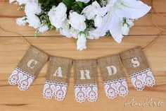 Wedding Cards banner Rustic Wedding banner for Card Box Cards sign Burlap banner Burlap wedding banner Cards banner with burlap and lace - pinned by pin4etsy.com