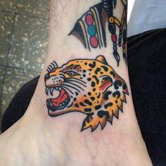 Onça braba no tornozelo do Juliano! Muito obrigado. Tattoo feita em Americana. (em Americana, Sao Paulo)