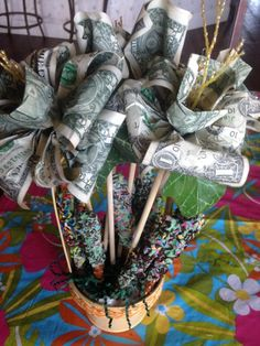 """MONEY ROSES BOUQUET with Chocolate covered Pretzel Rod """"filler"""" * great GRADUATION or BIRTHDAY gift ** links to the roses and 2 ingredient recipe for the pretzels"""