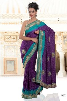 Buy Admix Exclusive Handwork Purple/Turquoise Saree. This Readymade Suit is adorned with Purple/Turquoise colored Stone. Saree comes along with it. Slight variation in color and patch patti is possible. To shop now, click on http://jugniji.com/ and www.facebook.com/jugniji.fashions/