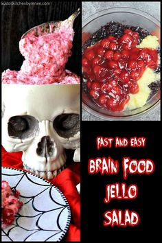 """Can you wrap your """"head"""" around eating gory brain food jello salad for Halloween? Try not to """"think"""" about it too much, and you'll be just fine. *insert evil laughter here* #halloweendessert #halloweenrecipe #jellosalad #halloweentreat #funwithfood #halloweendessert #halloweensweets #funnyhalloweenrecipe #spookyhalloweentreat #goryhalloweenrecipe #cherry #jello #kudoskitchenrecipes Jello Fruit Salads, Puking Pumpkin, Recipe Ingredients List, Halloween Sweets, Halloween Ideas, Canning Cherry Pie Filling, Printable Recipe Cards, Brain Food, Holiday Desserts"""