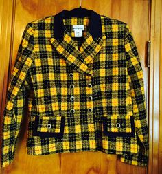 Vintage Blazer Jacket Perceptions by Irene B. Yellow Plaid. Nubby weave. Double Breasted, Decorative Buttons. 80s by Have2Shop on Etsy