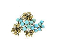 14k Gold Diamond Turquoise Brooch Pin