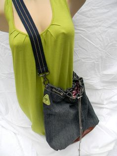 Jean bag pink inside lining by mermaiddesignsstore on Etsy, $30.00