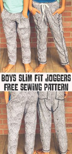 Free pattern: Kids slim fit jogger pants These joggers combine the comfort of sweatpants with a more stylish, slimmer leg. They're great for wearing to school! Emily from Life Sew Savory has a free pattern for making these slim fi… Boys Sewing Patterns, Sewing For Kids, Free Sewing, Clothing Patterns, Pattern Sewing, Dress Patterns, Kids Patterns, Vogue Patterns, Pattern Drafting