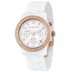 Michael Kors Ladies' Classic Ceramic Watch In White.