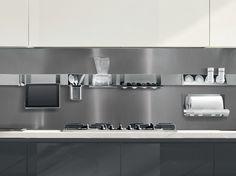 Painel traseiro para cozinha de metal MAGNETIKA KITCHEN by Ronda Design design Marco Fumagalli, Ronda Design
