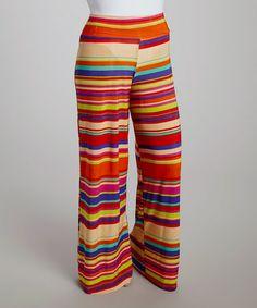 Loving this Rainbow Stripe Palazzo Pants - Plus on #zulily! #zulilyfinds