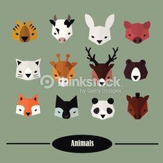 Animals Heads Vector Set Flat Design Clipart vectoriel 494766385