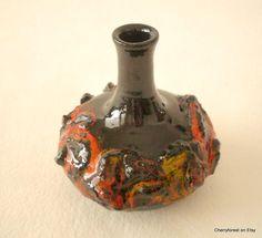 Glit  lava ceramic bottle vase , Icelandic lava vase, by Cherryforest on Etsy