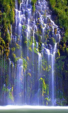 Mossbrae Falls is a waterfall flowing into the Sacramento River, in the Shasta Cascade area in Dunsmuir, California. The falls are located just south of the lower portion of Shasta Springs. Beautiful World, Beautiful Places, Beautiful Pictures, Beautiful Waterfalls, Beautiful Landscapes, Famous Waterfalls, Places To Travel, Places To Go, Foto Picture