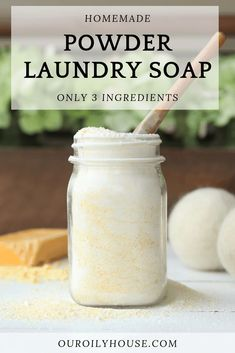 DIY powder laundry soap with essential oils. Three ingredient, simple recipe, that works! Making your own laundry soap is a great way to save money and make the switch to natural products. Homemade powder laundry soap only requires 3 ingredients! Powder Laundry Detergent, Natural Laundry Detergent, Laundry Powder, Powder Soap, Laundry Room, Small Laundry, Essential Oils For Laundry, Essential Oils Soap, Homemade Cleaning Products