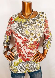 52f9b737b Chico's 1 or M Top Paisley Floral Geometric Stretch Blouse 3/4 Bell Sl Crew  Neck | eBay