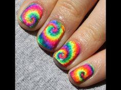 Neon Tie Dye Nail Art Tutorial by knailart