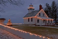 """Christmas Lighthouse"" -- Old Mission Point Lighthouse ~ Traverse City, Michigan."