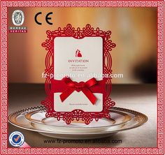 Лазерная резка Белый роскошные Свадебные Приглашения с атласными лентами Сделано в Китае цены, Подробная о Белый…