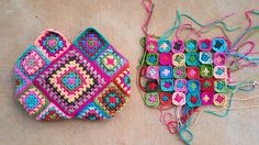crochet bag crochet squares, crochetbug, flamingo palette, crochet purse, crochet granny squares, granny squares