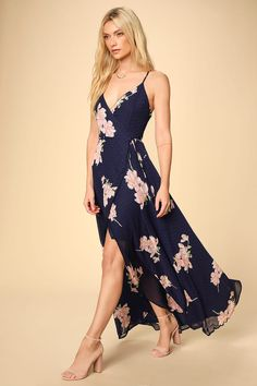 The Lulus Loiselle Navy Blue Floral Print Polka Dot Wrap Maxi Dress is here to have some fun! Lightweight floral and polka dot print high-low wrap maxi dress. Dresses For Teens, Simple Dresses, Dresses Online, Casual Dresses, Floral Dress Outfits, Floral Romper, Navy Blue Floral Dress, Blush Dresses, Women's Dresses