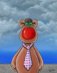 Fozzie Bear gets a tomato to the face.