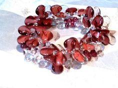 Winter Berry Bracelet Set of 2 Raspberry Teardrop Bracelets Handmade Jewelry by NorthCoastCottage Jewelry Design & Vintage Treasures, $39.00