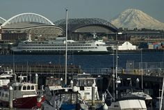 The stadiums and mt. Rainer Seattle