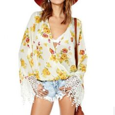 Fashion roses pattern printing lace decoration pretty blouse HY-141246171