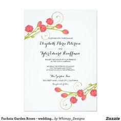 "Fuchsia Garden Roses - wedding invitation 5"" X 7"" Invitation Card"
