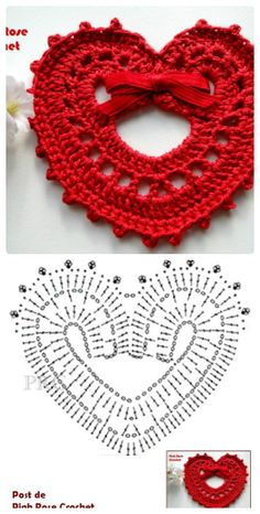 Crochet heart chart pattern