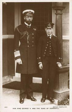 King George V and Prince Edward, then Duke of Cornwall (future Edward VIII).