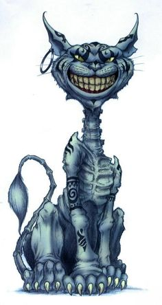 Cheshire Cat from Amercian McGee's Alice video games  I have this tattoo he's about 10 inches long on my calf