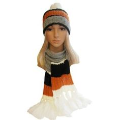 Winter Hat, Scarf Set - Cable Knit Scarf, Slouch Beanie Hat for Women - Black Orange by Fashion Helpers. $12.95. One Size fits most women's knit beanie hat has a built in cuff and top pom. Created from soft knit acrylic with stripe pattern women's hat scarf set is functional & fashionable. Women's knit scarf and knit beanie hat with pom - adorable Ladies Winter Set. acrylic. Women's Knit Winter Scarf is 70 inches long (including fringe) and 6 to 8 inches wide. Winter Se...