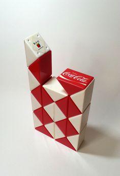 Coca Cola Rubik's Twist Snake Puzzle Toy (Red / White) - Coke by mycoffeeboy