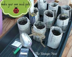 The Vintage Nest: Make Your Own Seed Pots & Lavender