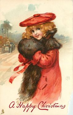 girl in red with brown muff & scarf, car with driver left in background