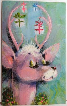 Pink Reindeer Vintage Christmas Card