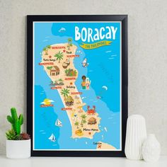 art travel poster boracay island map philippines Philippines gift