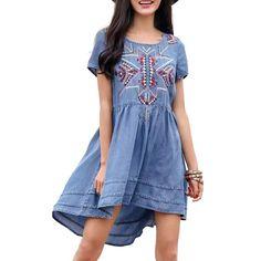 Women vintage geometric embroidery tencel dress European style summer casual asymmetrical denim dresses vestidos