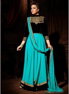 Sky Blue With Black Self Designed Party Wear Long Anarkali Salwar Suit - See more at: http://www.angelnx.com/Salwar-Kameez