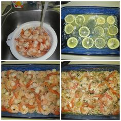 Attention shrimp lovers!! Try this quick way to make fabulous shrimp.  Melt a stick of butter in the pan. Slice one lemon and layer it on top of the butter. Put down fresh shrimp, then sprinkle one pack of dried Italian seasoning. Add 1 Tbsp garlic powder. Put in the oven and bake at 350 for 25 min. I think it would have tasted better if cooked in a frying pan. Still it was good.