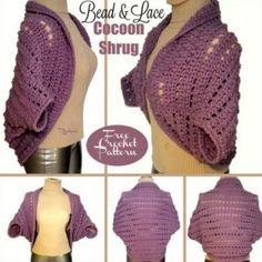 Bead and Lace Crochet Cocoon Shrug Free Pattern