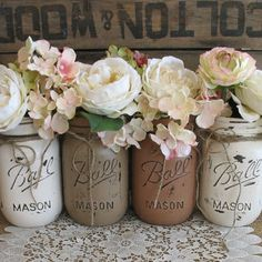 Painted mason jars a great way to add rustic charm to your wedding ceremony or reception