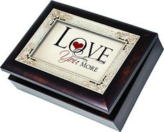 Love You More Cottage Garden Italian Style Burlwood Finish with Decorative Inlay Jewelry Music Musical Plays Song All You Need Is Love  This beautiful jewelry music box has a rich burlwood finish with a classic decorative inlay. It plays a high quality Sankyo music mechanism that can be seen on the inside of the box through protective glass. It has a 4×6 photo frame lid so the picture can be exchange for a personal photo. The feet are cushioned so they don't scratch surfaces. The box..