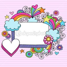 Illustration about Psychedelic Rectangle Frame with Hearts, Stars, and Flowers Notebook Doodles Vector Illustration on Lined Paper Background. Illustration of funky, psychedelic, clip - 12142554 Doodle Frames, Doodle Art, Boarder Designs, Notebook Doodles, Japanese Typography, Heart Frame, Typography Poster, Typography Design, Free Vector Art